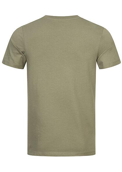 Jack and Jones Herren T-Shirt Logo Frontprint Slim Fit oil oliv grün