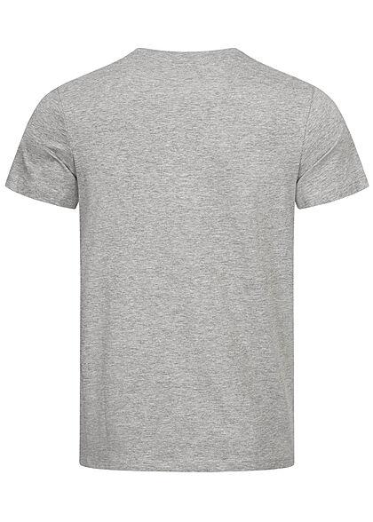 Jack and Jones Herren T-Shirt Logo Frontprint Regular Fit hellgrau melange