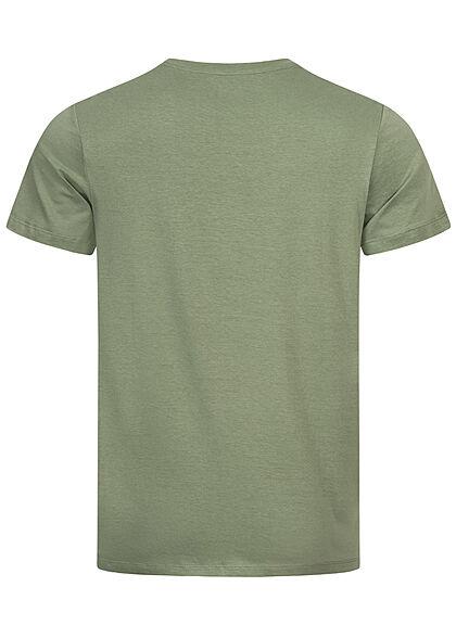 Jack and Jones Herren T-Shirt Logo Frontprint Regular Fit sea spray grün