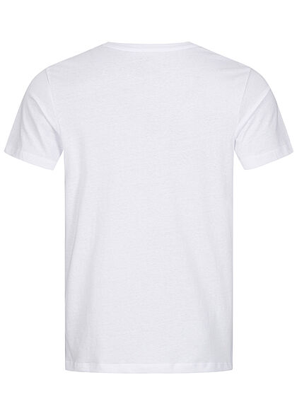 Jack and Jones Herren T-Shirt Skulls Surf Club Print Regular Fit weiss
