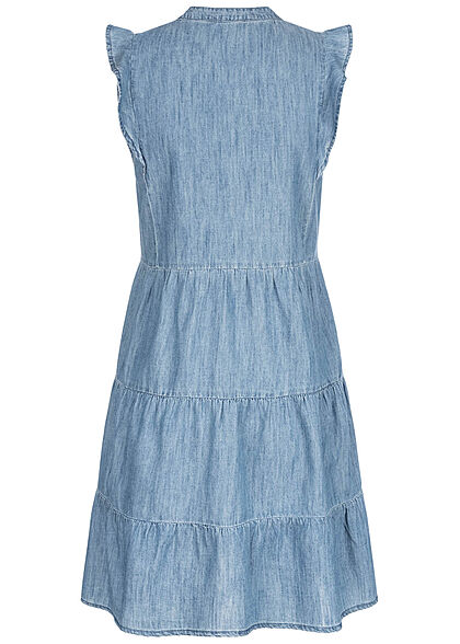 ONLY Damen Jeans Stufenkleid Volantärmel halbe Knopfleiste medium blau denim