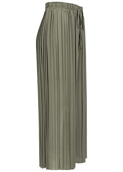 Styleboom Fashion Damen Plissee Culotte Hose 2-lagig weiter Schnitt khaki