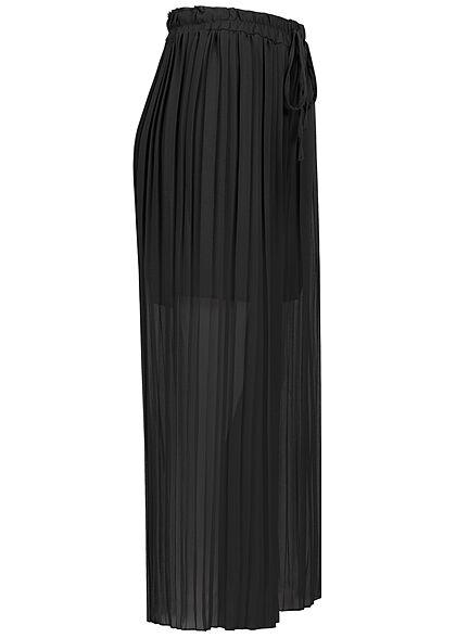 Styleboom Fashion Damen Plissee Culotte Hose 2-lagig weiter Schnitt schwarz