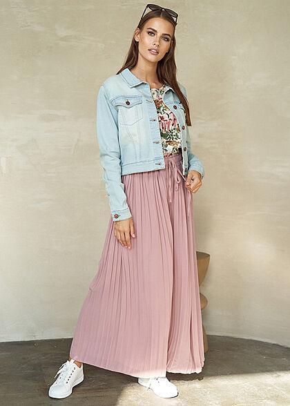 Styleboom Fashion Damen Plissee Culotte Hose 2-lagig weiter Schnitt old rose