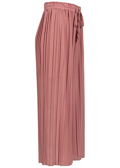 Styleboom Fashion Damen Plissee Culotte Hose 2-lagig weiter Schnitt mesa rosa