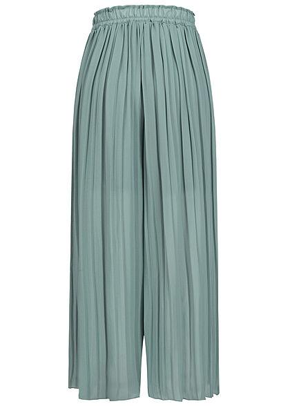 Styleboom Fashion Damen Plissee Culotte Hose 2-lagig weiter Schnitt grün