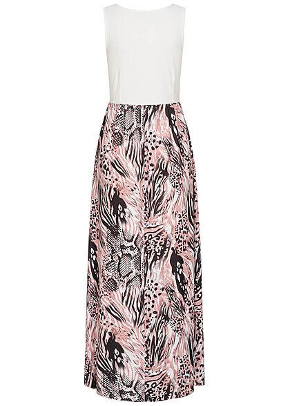 Styleboom Fashion Damen 2-Tone Maxi Kleid Blumen Muster weiss rosa schwarz
