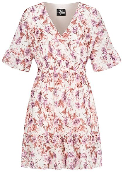 Styleboom Fashion Damen 1/2 Arm V-Neck Kleid Wickeloptik Blumen Print weiss rosa lila - Art.-Nr.: 21056622