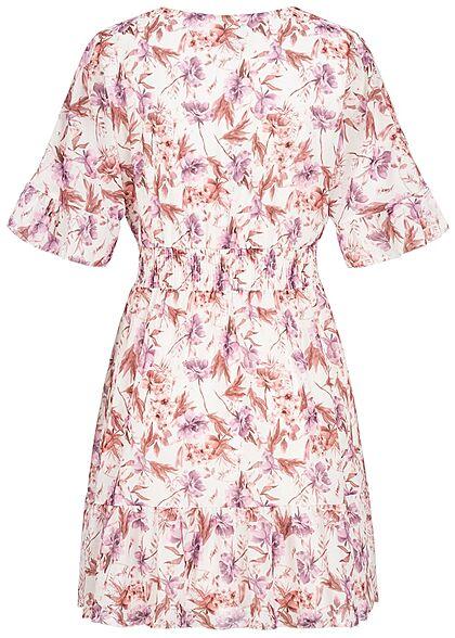 Styleboom Fashion Damen 1/2 Arm V-Neck Kleid Wickeloptik Blumen Print weiss rosa lila