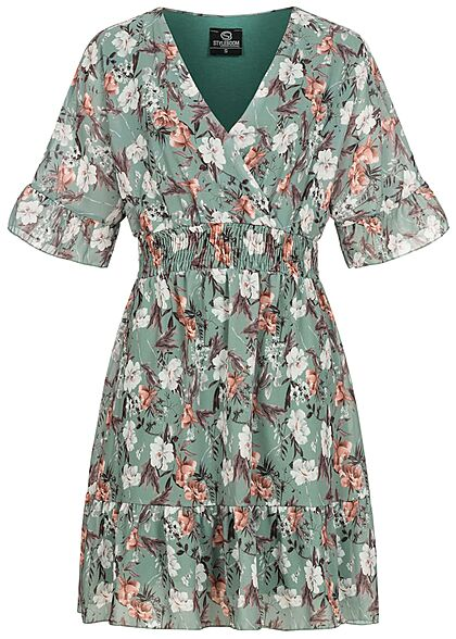 Styleboom Fashion Damen 1/2 Arm V-Neck Kleid Wickeloptik Blumen Print grün multicolor - Art.-Nr.: 21056623