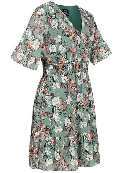 Styleboom Fashion Damen 1/2 Arm V-Neck Kleid Wickeloptik Blumen Print grün multicolor
