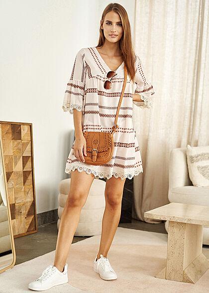 Styleboom Fashion Damen 3/4 Arm V-Neck Stufenkleid Inka Print Häkelbesatz creme beige