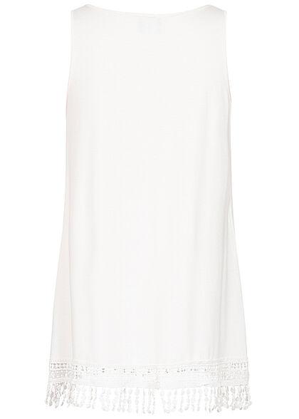 Styleboom Fashion Damen Longform Tank Top Häkelbesatz Elefanten Print weiss