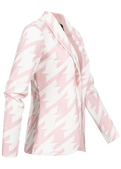 Styleboom Fashion Damen 2-Tone Blazer offener Schnitt Hahnentritt Muster weiss rosa