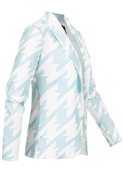 Styleboom Fashion Damen 2-Tone Blazer offener Schnitt Hahnentritt Muster weiss blau