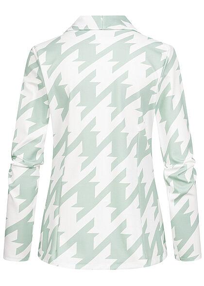 Styleboom Fashion Damen 2-Tone Blazer offener Schnitt Hahnentritt Muster weiss grün