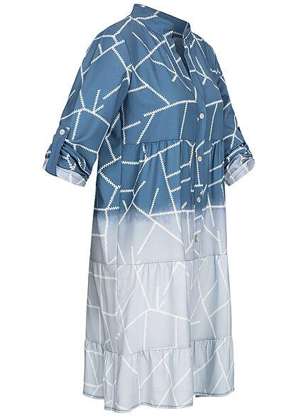 Styleboom Fashion Damen V-Neck Turn-Up Stufen Kleid Zick Zack Faded Muster blau denim