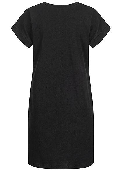 Styleboom Fashion Damen T-Shirt Kleid Women Print schwarz