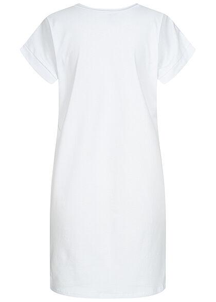 Styleboom Fashion Damen T-Shirt Kleid Women Print weiss
