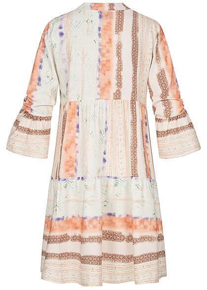 Styleboom Fashion Damen V-Neck Viskose Puffer Kleid All Over Print weiss multicolor