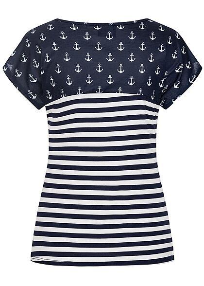 Styleboom Fashion Damen Materialmix T-Shirt Streifen & Anker Print navy blau weiss
