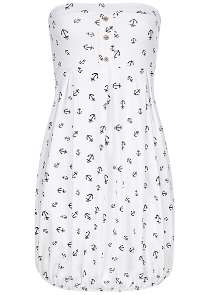 Styleboom Fashion Damen Mini Bandeau Kleid Anker Muster Weiss Navy Blau