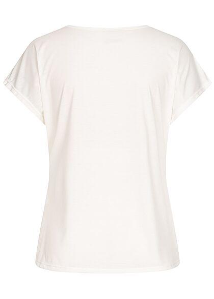 Styleboom Fashion Damen T-Shirt Multicolor Pusteblume Print weiss