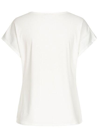 Styleboom Fashion Damen T-Shirt Multicolor Federn Print weiss