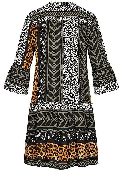 Styleboom Fashion Damen 3/4 Arm Viskose Puffer Kleid Leo Print schwarz multicolor