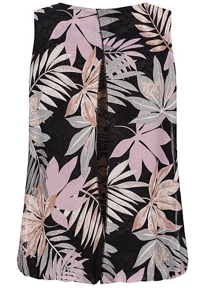 Styleboom Fashion Damen Chiffon Top mit Spitze hinten Tropical Print schwarz