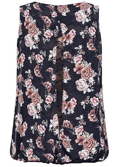 Styleboom Fashion Damen Chiffon Top mit Spitze hinten Blumen Print navy blau