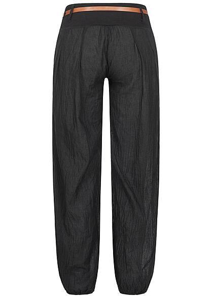 Styleboom Fashion Damen Sommer Stoffhose inkl. Gürtel 2-Pockets schwarz