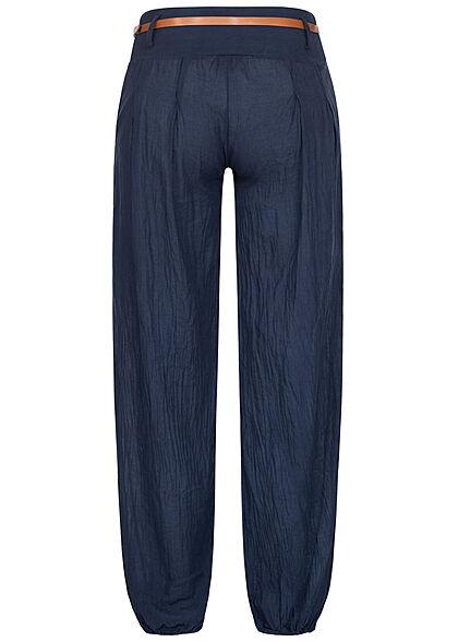 Styleboom Fashion Damen Sommer Stoffhose inkl. Gürtel 2-Pockets navy blau