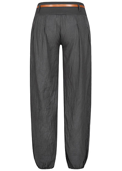 Styleboom Fashion Damen Sommer Stoffhose inkl. Gürtel 2-Pockets dunkel grau