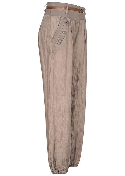Styleboom Fashion Damen Sommer Stoffhose inkl. Gürtel 2-Pockets fango braun