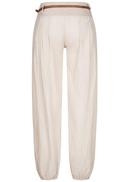 Styleboom Fashion Damen Sommer Stoffhose inkl. Gürtel 2-Pockets beige
