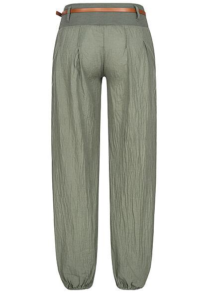 Styleboom Fashion Damen Sommer Stoffhose inkl. Gürtel 2-Pockets military grün