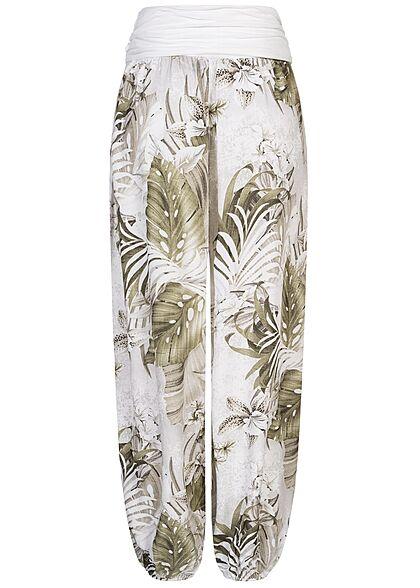 Styleboom Fashion Damen Sommer Harem Stoffhose Tropical Print weiss