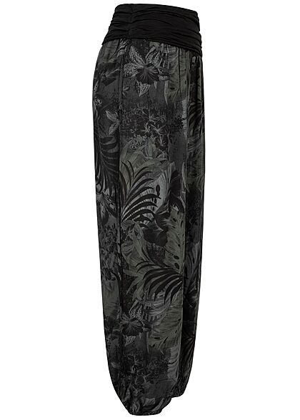 Styleboom Fashion Damen Sommer Harem Stoffhose Tropical Print schwarz