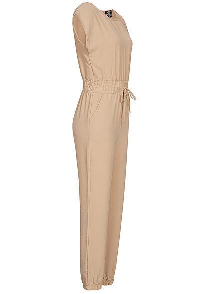 Stylebooom Fashion Damen Jumpsuit Taillenbund Tunnelzug 2-Pockets beige