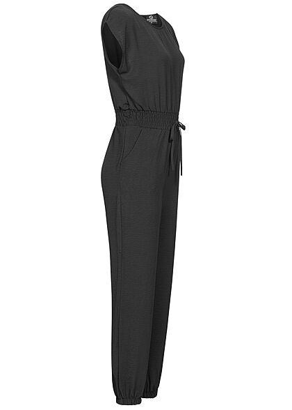 Styleboom Fashion Damen Jumpsuit Taillenbund Tunnelzug 2-Pockets schwarz