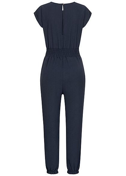 Styleboom Fashion Damen Jumpsuit Taillenbund Tunnelzug 2-Pockets navy blau