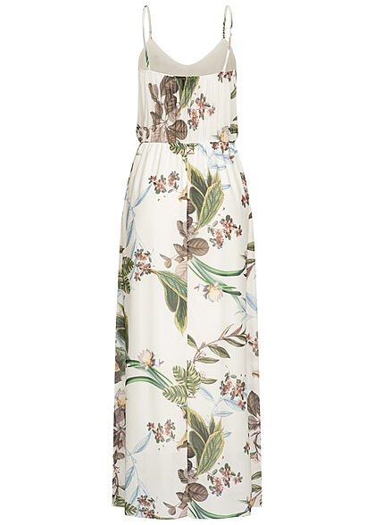 Styleboom Fashion Damen Maxi Trägerkleid Tropical Print weiss multicolor