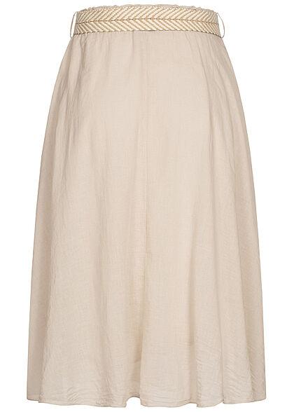 Styleboom Fashion Damen Midi Rock inkl. Flechtgürtel 2-lagig original beige
