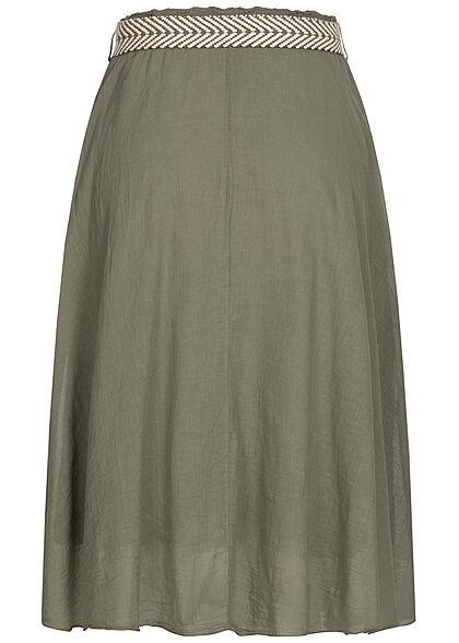 Styleboom Fashion Damen Midi Rock inkl. Flechtgürtel 2-lagig militare khaki