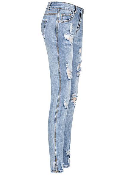 Seventyseven Lifestyle Damen High-Waist Jeans Hose Heavy Destroy Look Knopfleiste blau