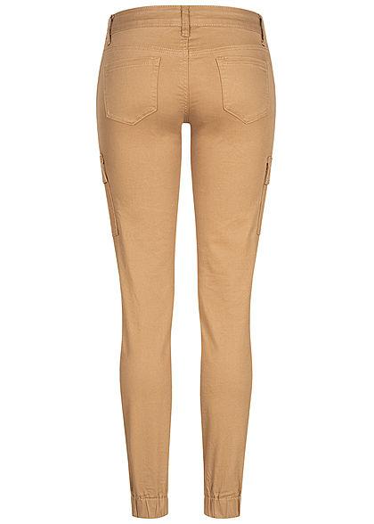 Seventyseven Lifestyle Damen Cargo Jeans Hose 7-Pockets Casual Fit camel hellbraun
