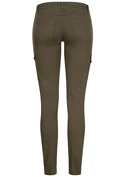 Seventyseven Lifestyle Damen Cargo Jeans Hose 7-Pockets Casual Fit khaki grün denim