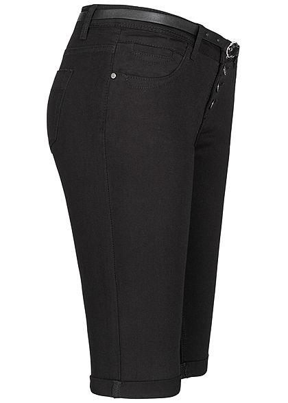 Seventyseven Lifestyle Damen Bermuda Jeans Shorts inkl. Gürtel Knopfleiste schwarz den