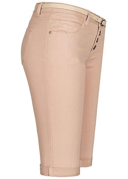 Seventyseven Lifestyle Damen Bermuda Jeans Shorts inkl. Gürtel Knopfleiste beige denim